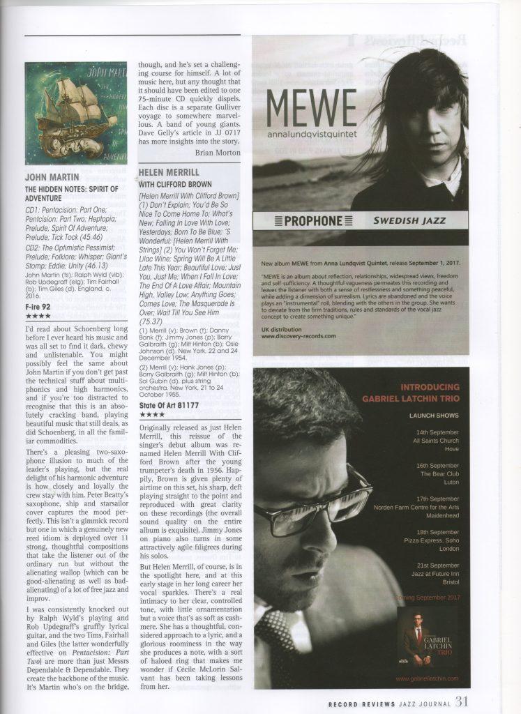 John Martin The Hidden Notes review Jazz Journal